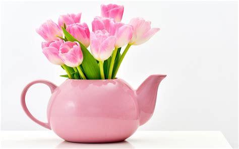 tulipani vaso scarica sfondi tulipani rosa vaso di tulipani rosa