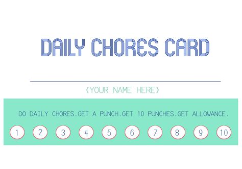 punch card template publisher the hill family new years goals and organization
