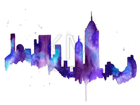 new york city skyline print watercolour wall art modern