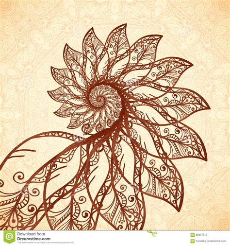 vector feathers spiral in henna tattoo style stock vector