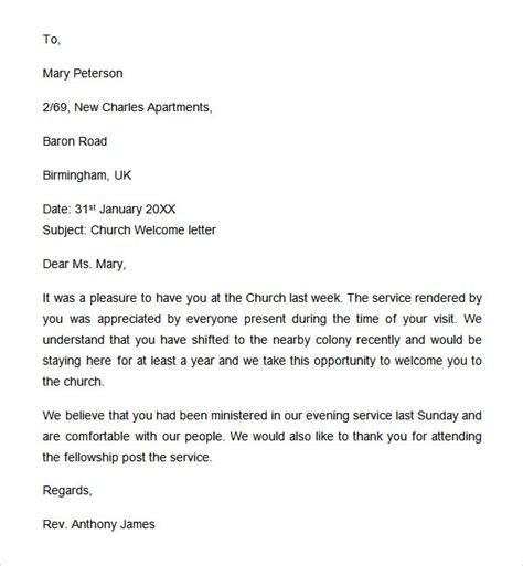 Church Welcome Letter Template sle welcome letter 9 documents in word