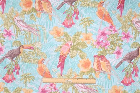 tropical drapery fabric kaufmann tropical bird printed cotton drapery fabric