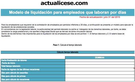 ejemplo de liquidacion de empleada de servicio cesant 237 as modelos y formatos