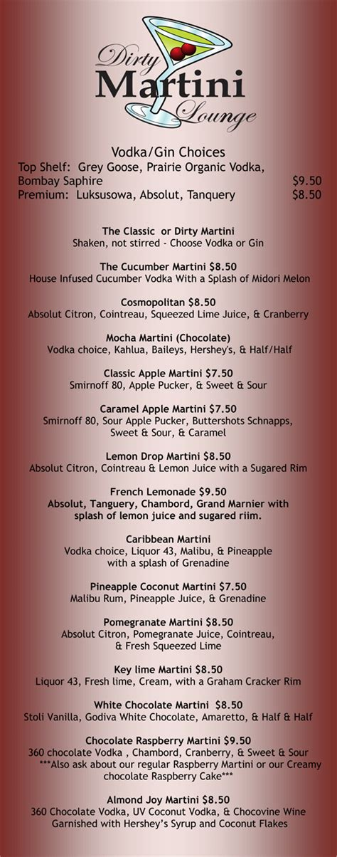 martini bar menu martini lounge bar martinis mojitos