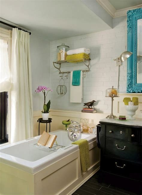 Bathtub Furniture Turquoise Blue Accents Eclectic Bathroom Decormag