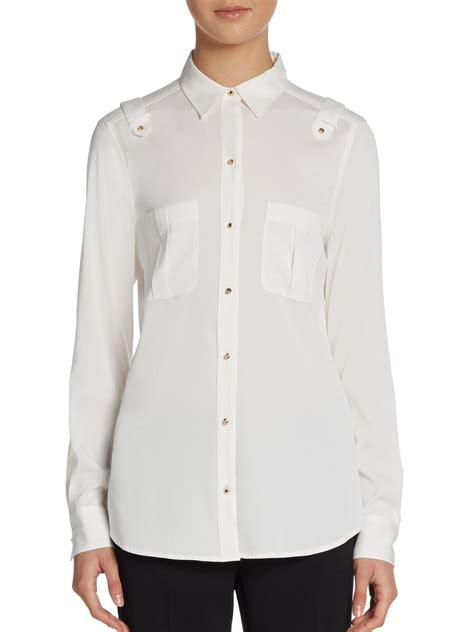Trumpi Blouse ivanka epaulet button front blouse in white lyst
