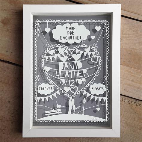 Wedding Anniversary Ideas Portland by Personalised Anniversary Papercut By The Portland Co