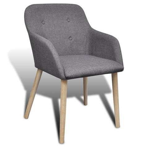 4 fabric dining chairs with armrest gray vidaxl