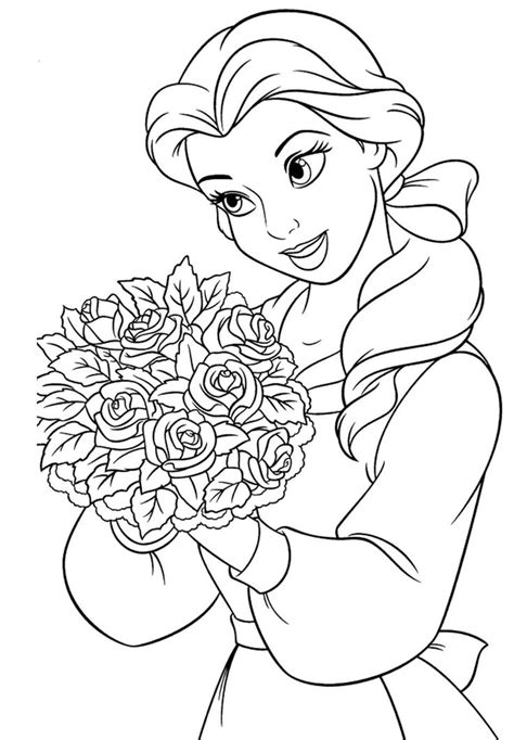 coloring pages belle princess belle carry flowers coloring pages princess