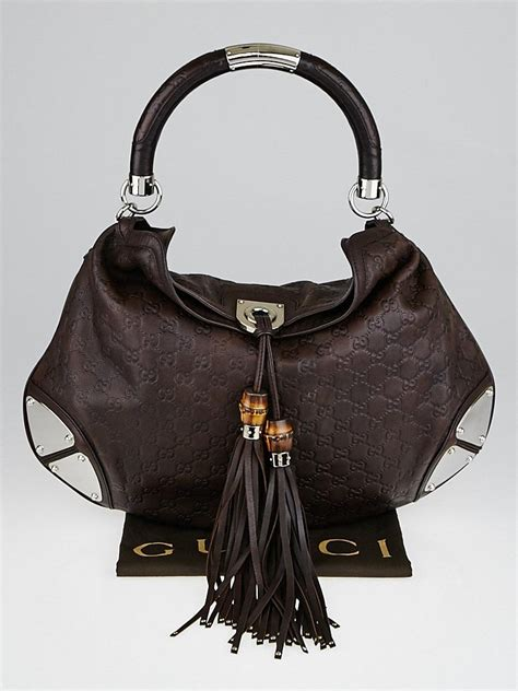Gucci Gunmetal Indy Large Top Handle Bag by Gucci Brown Guccissima Leather Large Babouska Indy Top