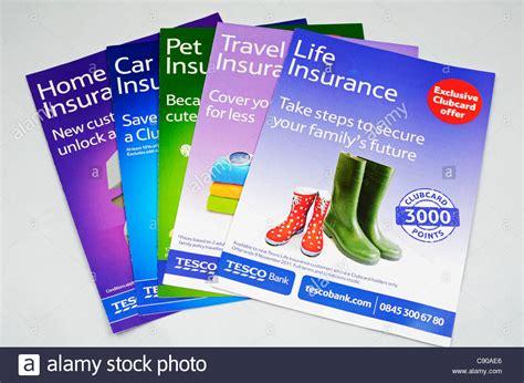 reset online banking tesco tesco insurance leaflets stock photo royalty free image