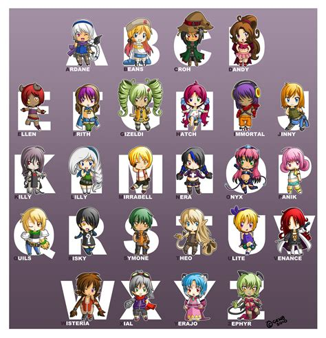 Anime Character With Letter X chibi alphabet by gen8 on deviantart