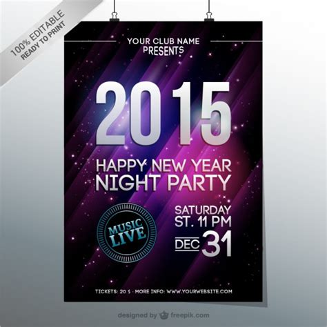 new year s party poster vector free download