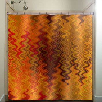 orange shower curtains fabric fire tapestry flame orange brown chevron from