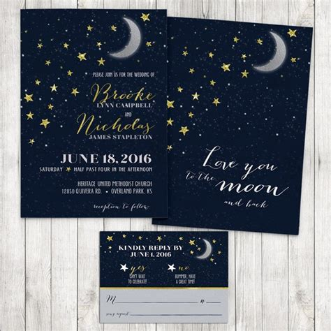 moon wedding invitations you to the moon and back wedding invitation moon and