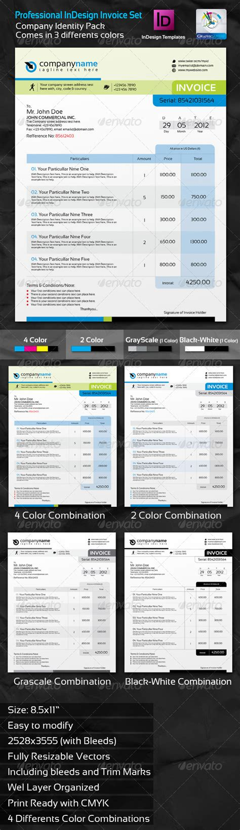 professional invoice indesign template set graphicriver
