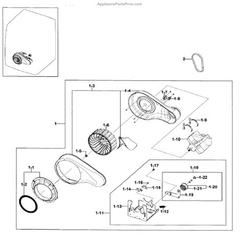 samsung dryer parts diagram parts for samsung dv330aeb xaa 0000 motor duct parts