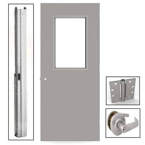 L I F Industries 36 In X 80 In Gray Flush Exit Right Commercial Exterior Steel Doors And Frames