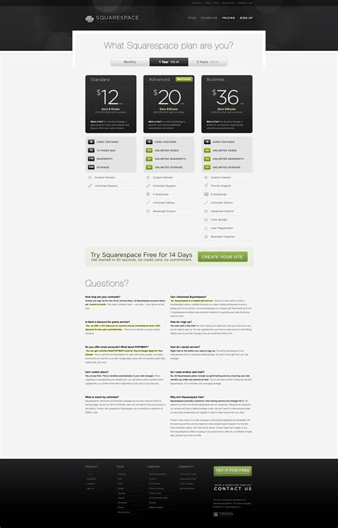 squarespace pricing subscription page ux design pricing tables at squarespace 1 of 2
