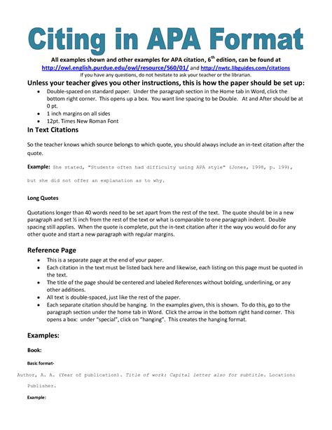apa format for writing a paper apa format citation