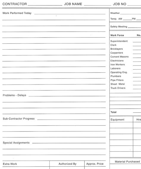 contract for work to be performed template daily log of work performed calendar template 2016