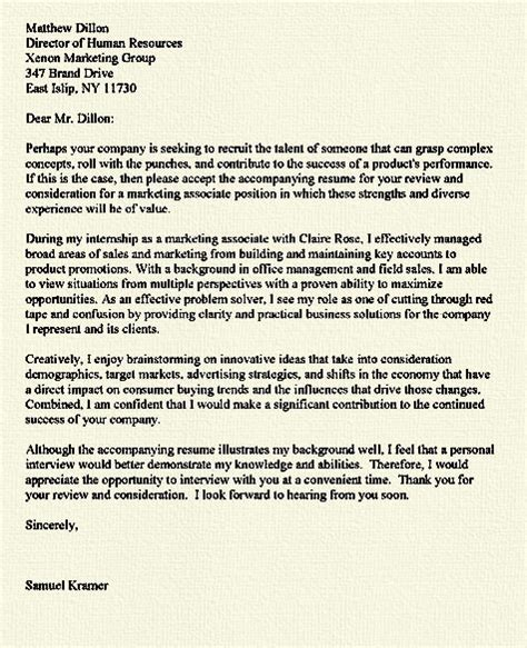 cover letter marketing internship consumer example for assistant