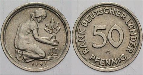 50 pfennig bank deutscher länder 1949 j 50 pfennig 1949 g vorz 252 glich m 252 nzen