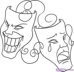 Theatre Mask Outline by Theatre Masks Coloring Pages