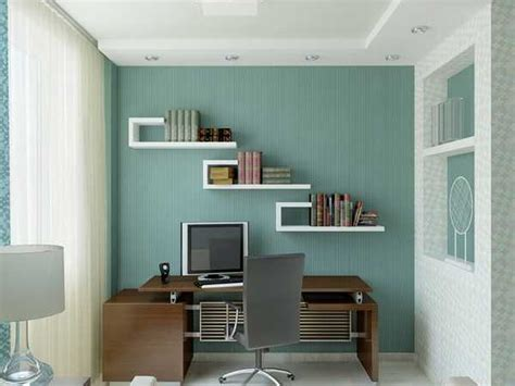 office design for home office ideas in small spaces blue wall paint white bookshelving