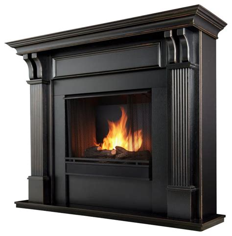 real gel fireplace black traditional
