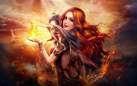 wallpaper girl on fire dragon fire fantasy girl wallpapers hd wallpapers id