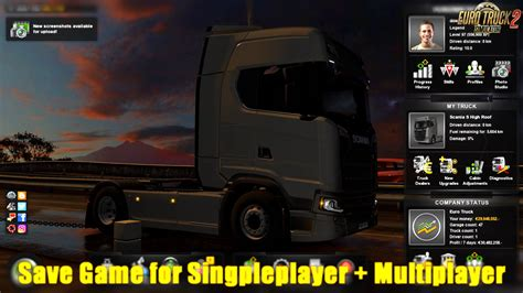 mod save game ets2 save game for singleplayer multiplayer v1 0 1 30 x
