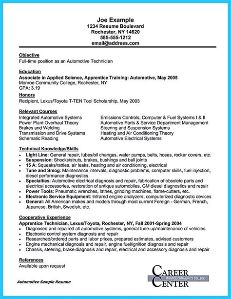 Auto Mechanic Cover Letter by Writing A Concise Auto Technician Resume