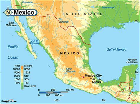 physical map mexico physical map of mexico and central america images