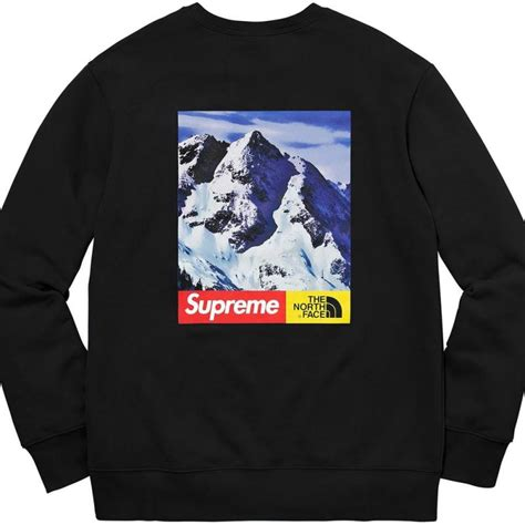Kaos Tshirt Supreme Tnf Black supreme x the mountain crewneck sweatshirt