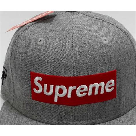 supreme hat supreme box wool fitted hats gray