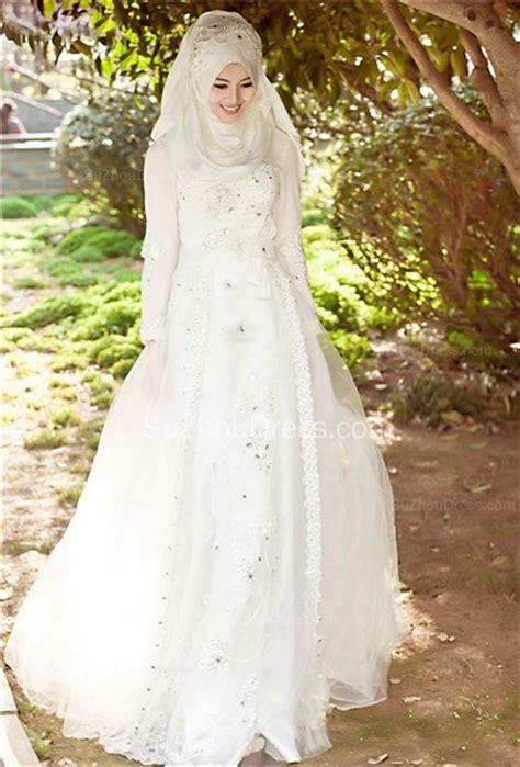 Arabian Wedding Dresses Long Sleeve Summer Sweep Train White Crystal Appliques Bow Sash Gorgeous