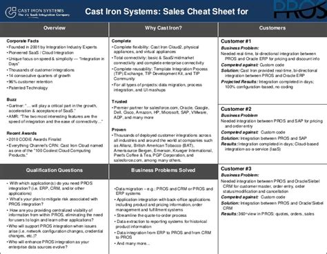 sales battle card template cast iron systems sales sheet for pros