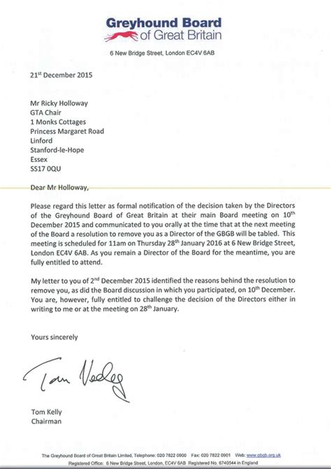 Letter Closing In Him Greyhound Board Of Great Britain Caged Nw