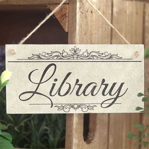 library handmade shabby chic wooden sign plaque