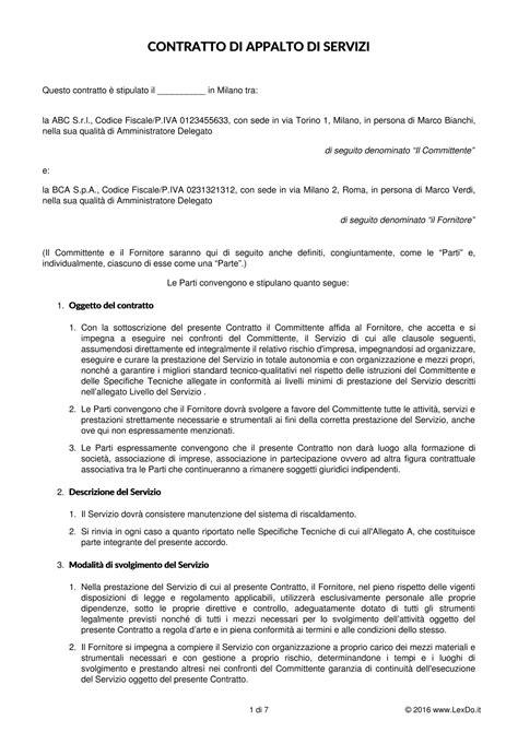 contratto soggiorno contratto di fornitura di servizi codice civile