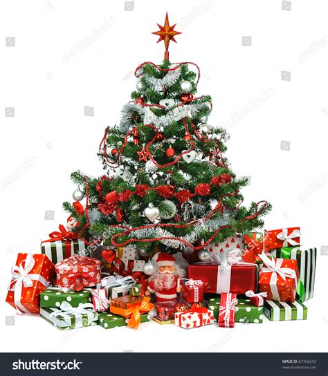 heap festive gift boxes under decorated stock photo