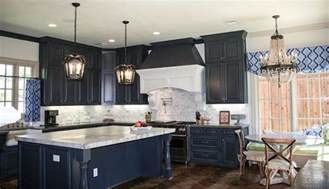 French Country Roman Shades - navy blue kitchen cabinets design decor photos pictures ideas inspiration paint colors