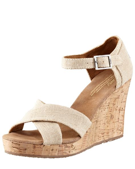 beige wedge sandal toms cork wedge sandal in beige beige lyst