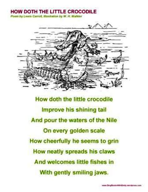 How Doth the Little Crocodile, a Singable Poem from ...