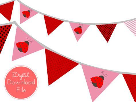 make printable ladybug birthday banner red pink ladybug banner magical printable