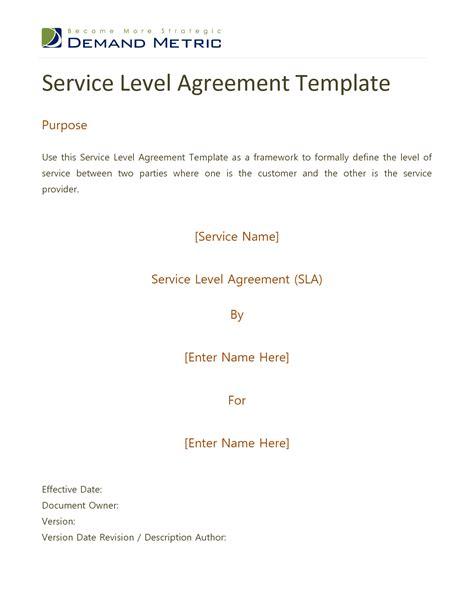 standard service level agreement template 8 best images of standard service level agreement template