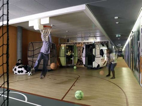 Office Playground by Small Basketball Court In The Office Interior Design Ideas