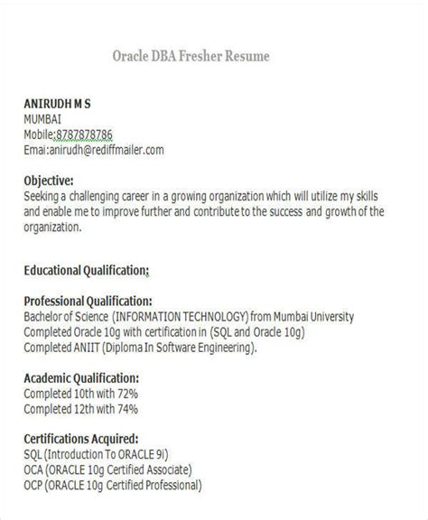 oracle dba resume format for freshers 42 professional fresher resumes sle templates