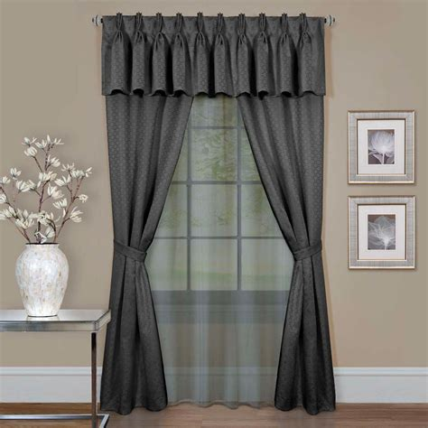 window sets curtains achim claire charcoal window curtain set 55 in w x 84